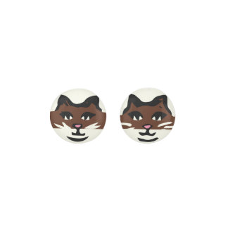 CUTE DARK BROWN & WHITE CAT EARRINGS
