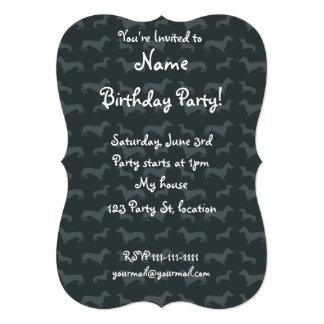 Cute dark gray dachshund pattern 5x7 paper invitation card