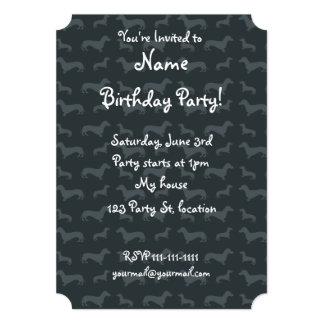 Cute dark gray dachshund pattern custom invites