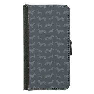 Cute dark gray dachshund pattern samsung galaxy s5 wallet case