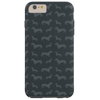 Cute dark gray dachshund pattern tough iPhone 6 plus case