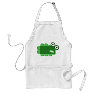 Cute Dark Green Cartoon Monster Adult Apron