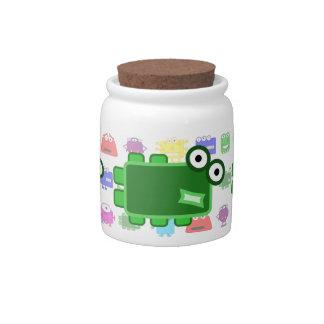 Cute Dark Green Cartoon Monster Candy Jar