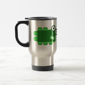 Cute Dark Green Cartoon Monster Travel Mug