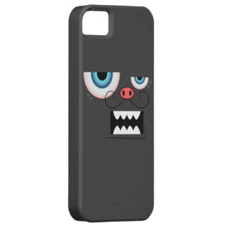 Cute Dark Grey Mustache Monster Emoticon iPhone 5 Covers
