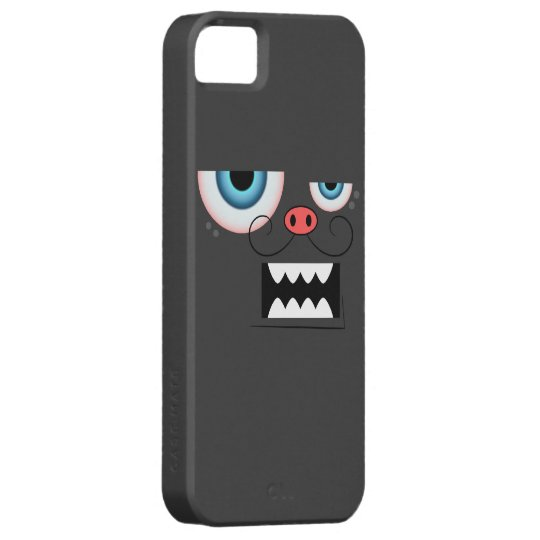 Cute Dark Grey Mustache Monster Emoticon iPhone SE/5/5s Case