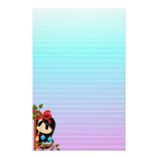 Cute Dark Haired Girl and Two Baby Birds Stationery