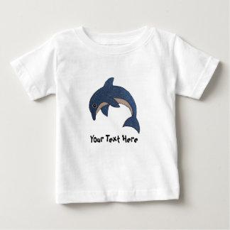 Cute Dark Ocean Blue Dolphin White Flecks Baby T-Shirt