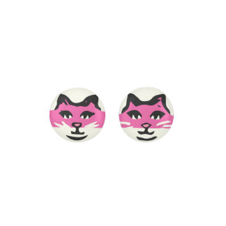 CUTE DARK PINK & WHITE CAT EARRINGS