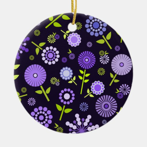 Cute dark purple spring flowers Double-Sided ceramic round christmas ornament