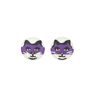 CUTE DARK PURPLE & WHITE CAT EARRINGS