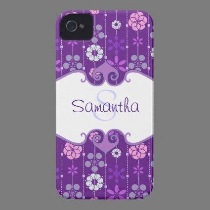 Cute dark retro floral geometric pattern monogram iPhone 4 cover