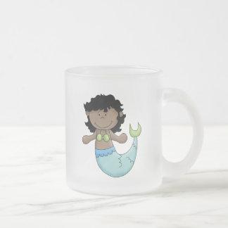 Cute Dark Skin Mermaid Girl Fish Design Frosted Glass Coffee Mug