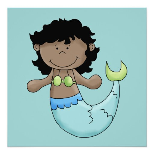 Cute Dark Skin Mermaid Girl Fish Design Custom Announcements