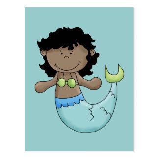 Cute Dark Skin Mermaid Girl Fish Design Postcard