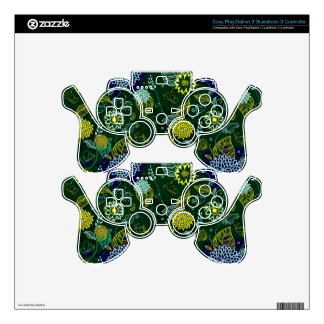 Cute Dark Tones Retro Floral PAttern Decal For PS3 Controller