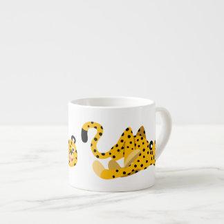 Cute Dashing Cartoon Cheetah Espresso Cup