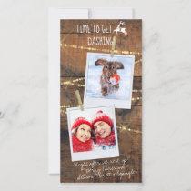 Cute Dashing Reindeer Icon 2-Photo Holiday Card