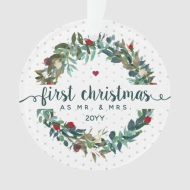 Cute Dated First Christmas Married With Names Ornament