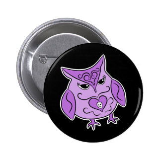 Cute Day of the Dead style purple owl 2 Inch Round Button
