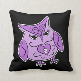 Cute Day of the Dead style purple owl Pillow