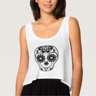 Cute Day of the Dead sugar skull black and white Tank Top