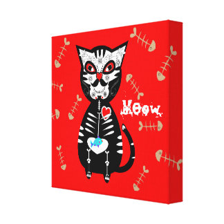 Cute Day of The Dead Sugar Skull Cat Meow Canvas Print