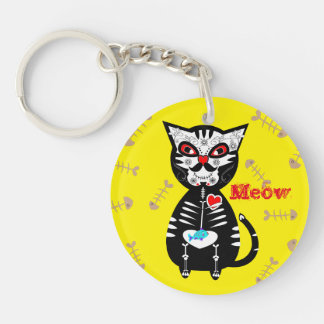 Cute Day of The Dead Sugar Skull Cat Meow Double-Sided Round Acrylic Keychain