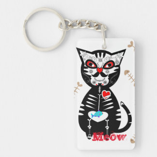 Cute Day of The Dead Sugar Skull Cat Meow Single-Sided Rectangular Acrylic Keychain