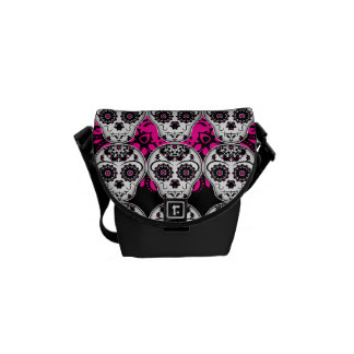 Cute day of the dead sugar skull pattern courier bag