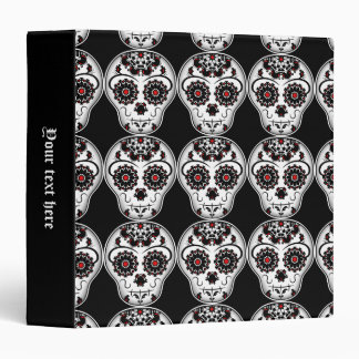 Cute Day of the Dead sugar skull with red accents Binders