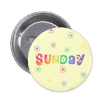 Cute Day Of The Week Sunday Pinback Buttons