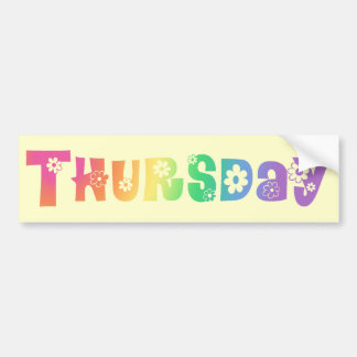 Cute Day Of The Week Thursday Bumper Sticker