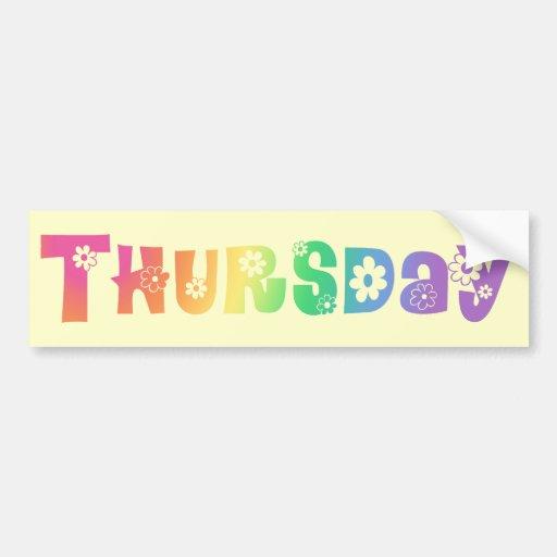 Cute Day Of The Week Thursday Car Bumper Sticker