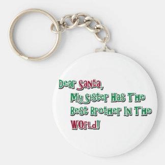 Cute Dear Santa Brother Saying Keychain