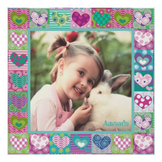 Cute decorated hearts photo border poster