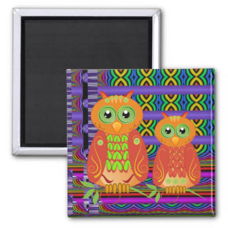 Cute decorative cartoon owls magnet