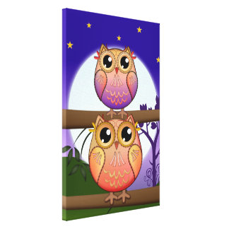 Cute decorative Full Moon Owls Stretched Canvas Print