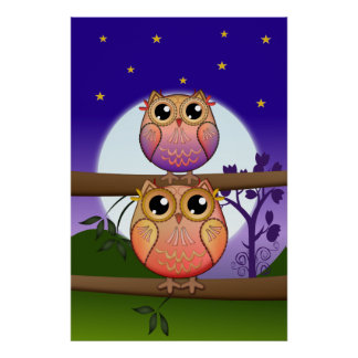 Cute decorative Full Moon Owls Posters