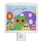 Cute decorative Owls & custom name Night light