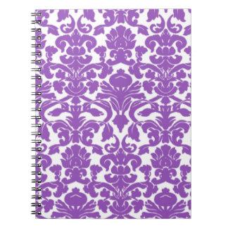 Cute Deep Lilac Damask Pattern Notebook