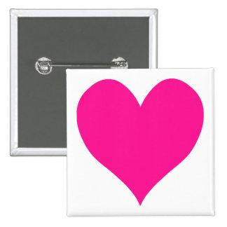 Cute Deep Pink Heart Pinback Button
