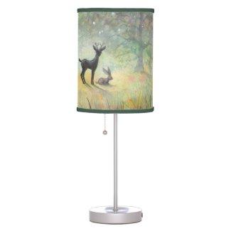Cute Deer and Rabbit Fantasy Wildlife Art Table Lamps