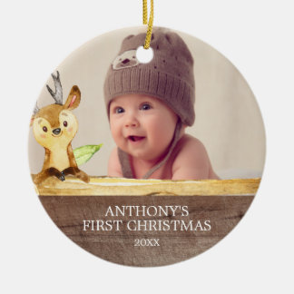 Cute Deer Baby's 1St Photo Christmas Ornament