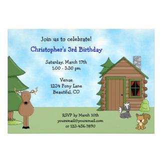 Cute Deer Cabin Birthday Invitation for Boys