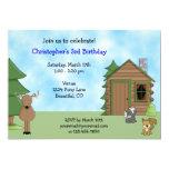Cute Deer & Cabin Birthday Invitation for Boys