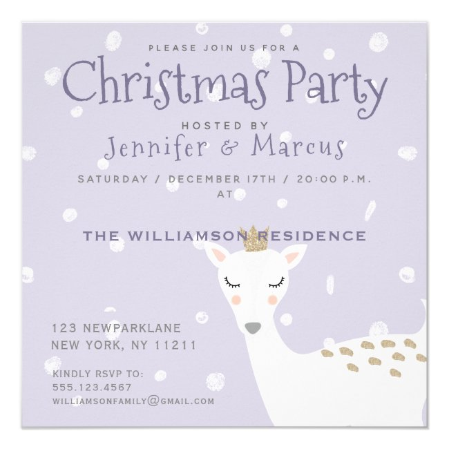 Cute Deer | Christmas Party Pale Purple