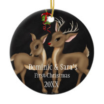 Cute Deer Couple First Christmas Ornament