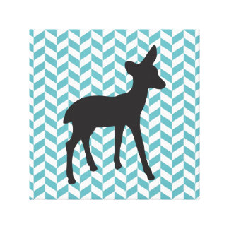 Cute deer fawn baby animal geometric chevron patte stretched canvas prints