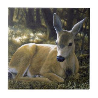 Cute Deer Fawn Lying Down Ceramic Tile